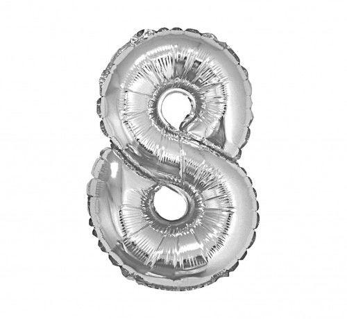 Balon foliowy w kształcie cyfry 8, srebrny 35 cm
