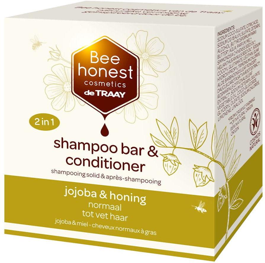 Szampon i odżywka do włosów normalnych i przetłuszczających się 2w1 w kostce olej jojoba i miód eco 80 g - bee honest