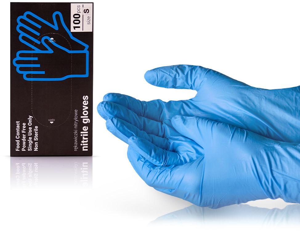 Rękawiczki Nitrylowe Bezpudrowe S 100 szt.