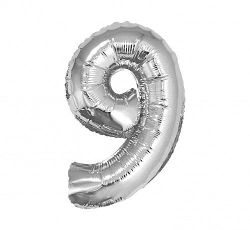 Balon foliowy w kształcie cyfry 9, srebrny 35 cm