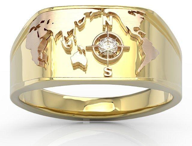 Sygnet morski z żółtego i różowego złota z brylantem sj-1406zp