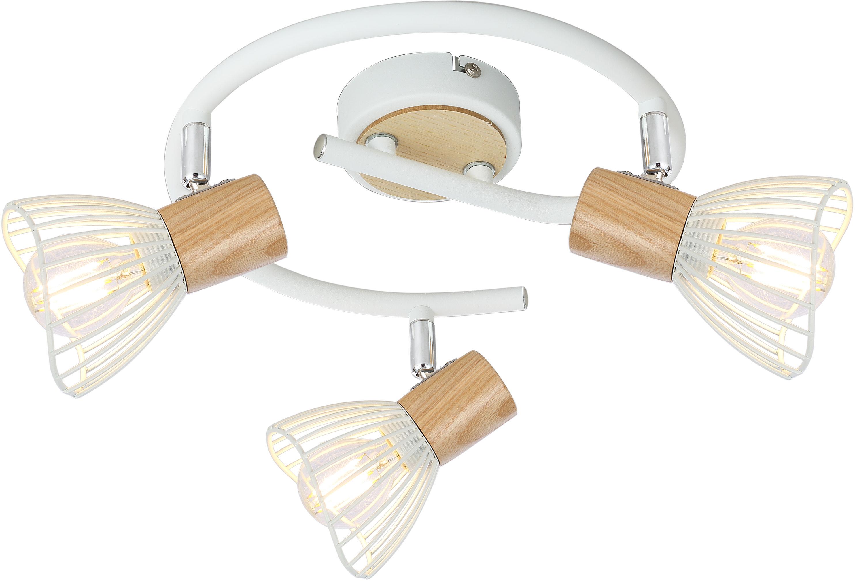 Candellux CHILE 98-61652 plafon lampa sufitowa biała 3x25W E14 drewno metalowy abażur 42cm