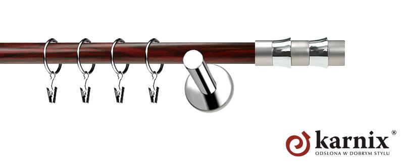Karnisze Nowoczesne NEO Prestige pojedynczy 19mm Fresno INOX - mahoń