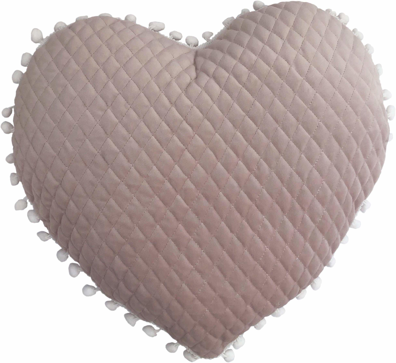 little furn. Poduszka wypełniona dużym sercem pomponem, jasny rumieniec, 35 x 40 cm (14 cali x 16 cali)