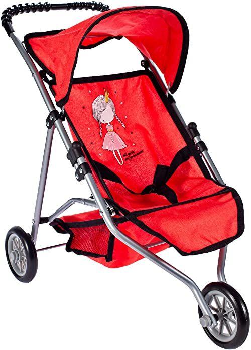 Malis 5901924217534 Wózek Spacerowy Trójkołowy Little Princess Red ,Czerwony