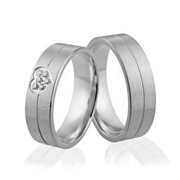 Obrączki srebrne z sercem i kamyczkami - wzór Ag-304