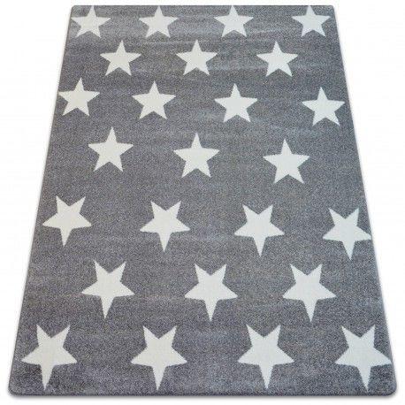 Dywan SKETCH - FA68 szaro/biały - Gwiazdki Gwiazdy 80x150 cm