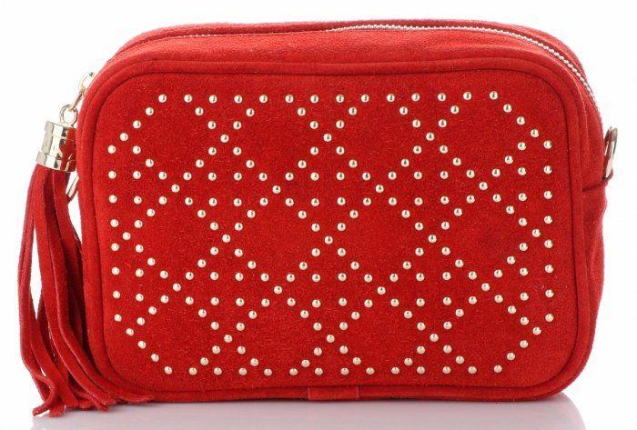 Torebki Skórzane Listonoszki włoskiej marki VITTORIA GOTTI Czerwone (kolory)