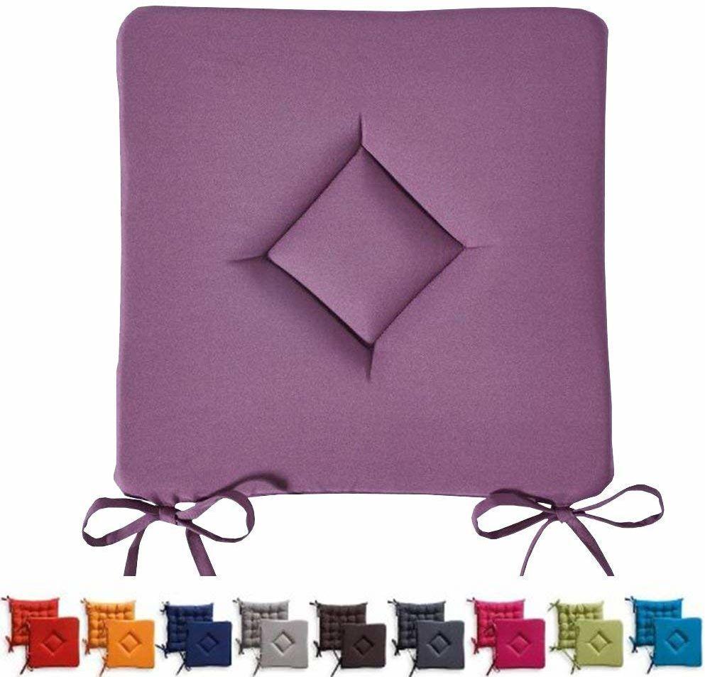 Today Poduszka do siedzenia, klasyczna, Chantily, poliester, 40 x 40 x 3 cm, poliester, fioletowy, 40 x 40 x 3 cm