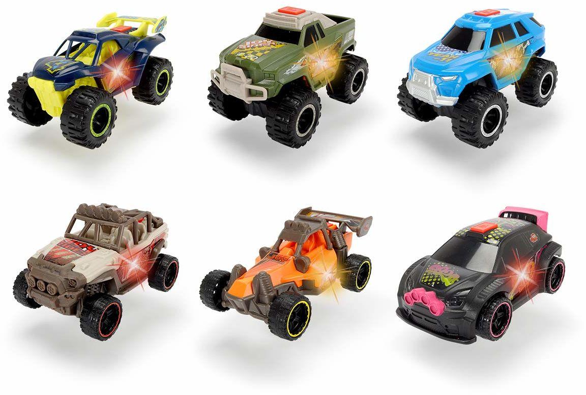 Dickie Toys Joyrider, samochód zabawkowy, samochód wyścigowy, światło i dźwięk, w zestawie baterie, 6 różnych wersji, losowy wybór, 11,5 cm, od 3 lat