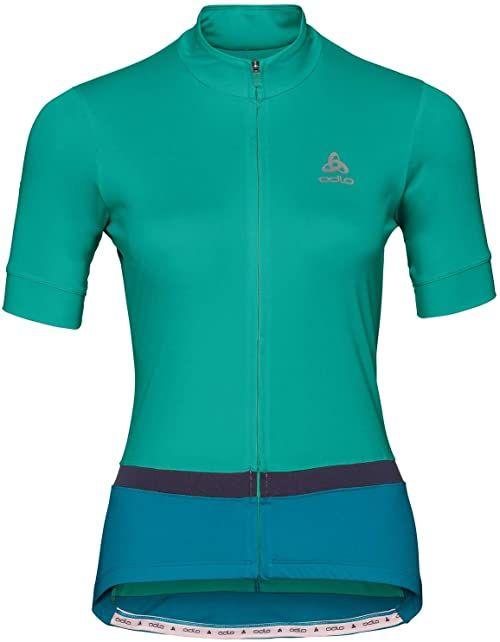 Odlo Damska koszulka Stand-up collar s/s full zip FUJIN Shirt, pool green - crystal teal, L