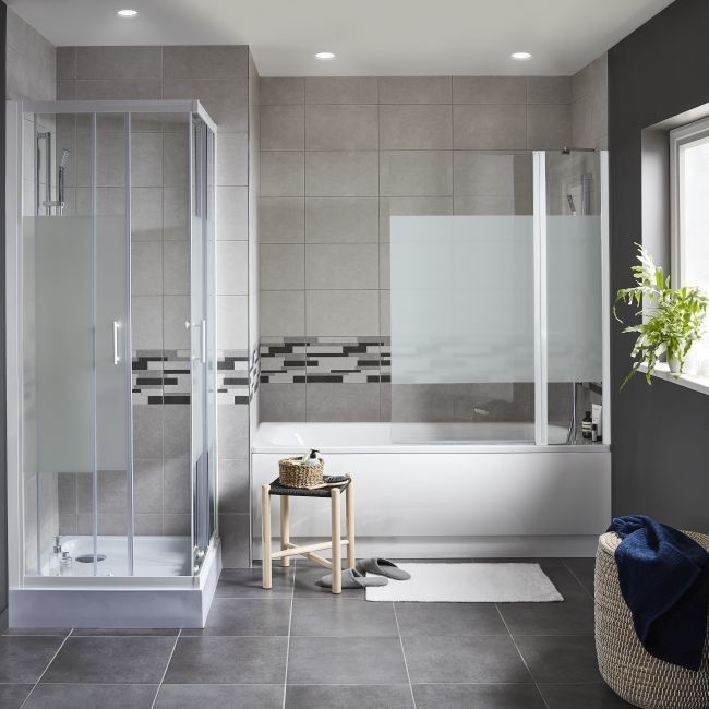 Kabina prysznicowa kwadratowa Onega 70 x 70 x 190 cm biały/wzór