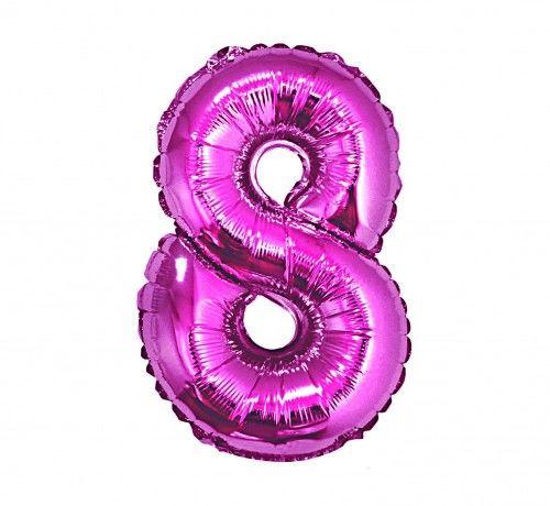 Balon foliowy w kształcie cyfry 8, różowy 35 cm