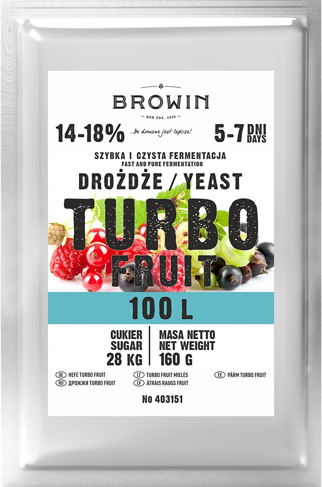 Drożdże winiarskie TURBO Fruit 5-7 dni 100 L