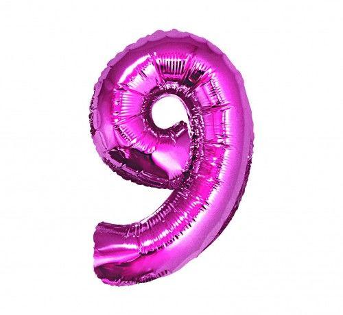 Balon foliowy w kształcie cyfry 9, różowy 35 cm