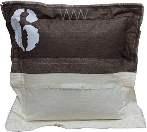 My Flair 23.19SF poduszka, 50 x 50 x 14 cm z wypełnieniem, 40% bawełna 30% len 20% wiskoza 10% poliester, pranie ręczne, kolor biały/beżowy z liczbą 6