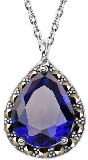 Staviori naszyjnik 50cm. niebieskie szkło. markazyty. srebro 0,925. wymiary 14x12 mm. długość regulowana dowolnie.