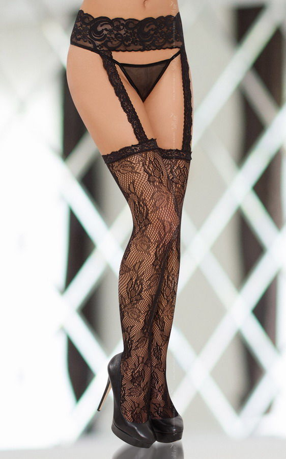 Stockings 6280 - black pończochy z pasem