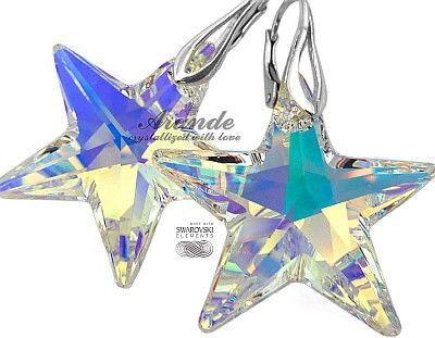 New Swarovski Piękne Duże Kolczyki Aurora Star