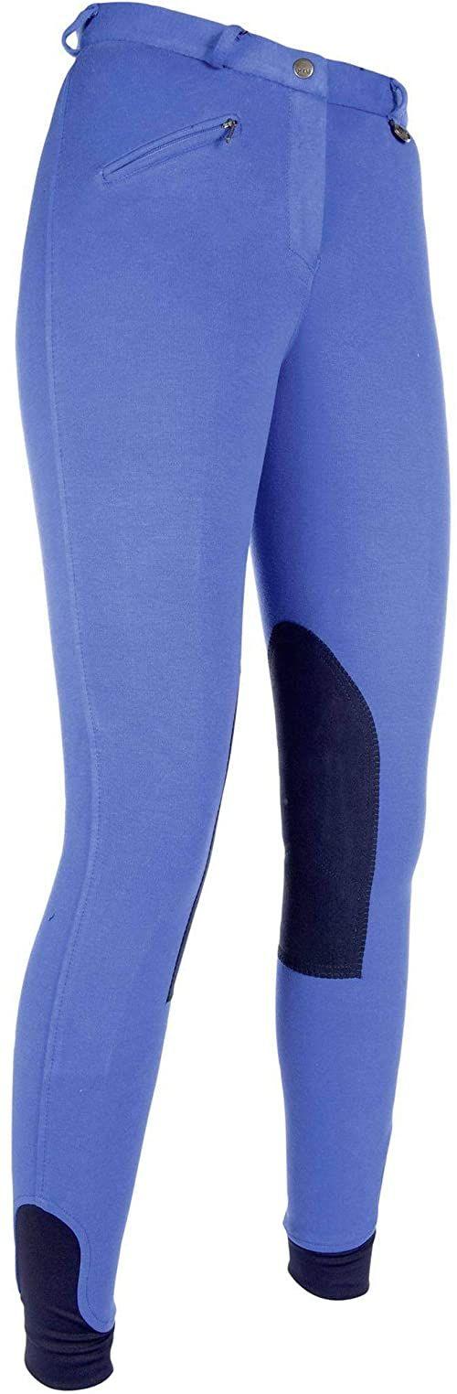 HKM 9064 spodnie jeździeckie Penny Easy, dziewczęce spodnie, obszycie kolan, chabrowe/ciemnoniebieskie, 134