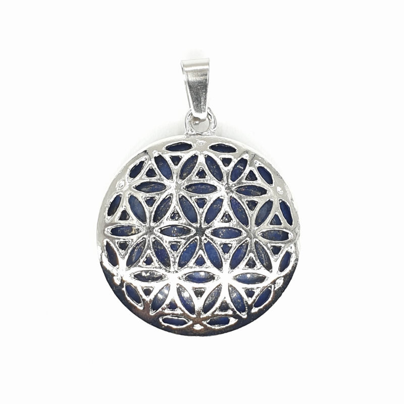 Kwiat życia - lapis lazuli okrągły (wisior w oprawie)