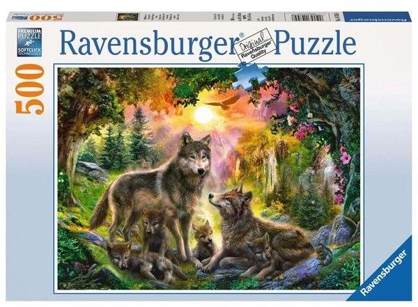 Puzzle Ravensburger 500 - Wilcza rodzina o zachodzie słońca, Wolves at sunset