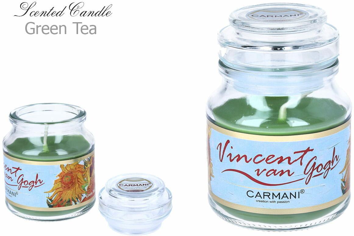 Carmani, świeczka zapachowa american mały - V. Van Gogh. Green Tea