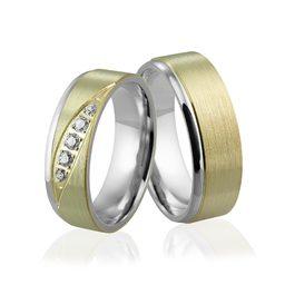 Obrączki srebrno złote z kamieniami - wzór Ag-308