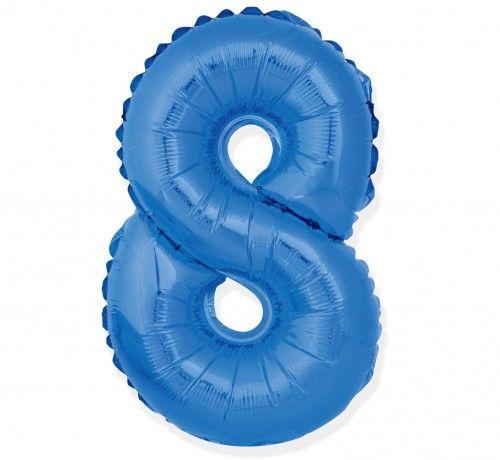 Balon foliowy w kształcie cyfry 8, niebieski 35 cm