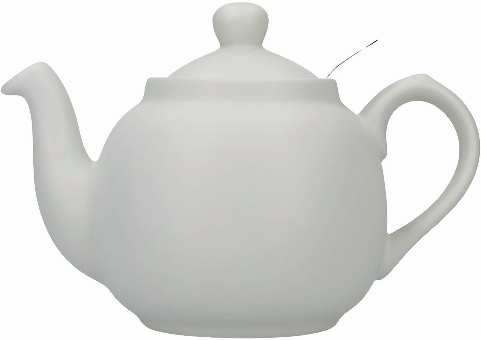 Londyńska ceramika wiejska mały czajniczek z zaparzaczem w pudełku upominkowym, ceramiczny, skandynawski szary, 2 filiżanki (600 ml)