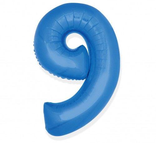 Balon foliowy w kształcie cyfry 9, niebieski 35 cm