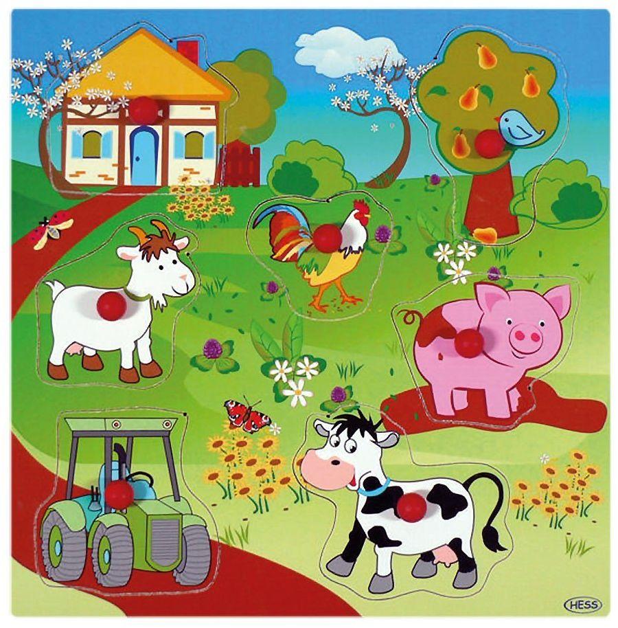Hess 14896 rączka dla malucha drewniana 5 części dom gospodarstwo puzzle zabawka dla dzieci, wielokolorowa