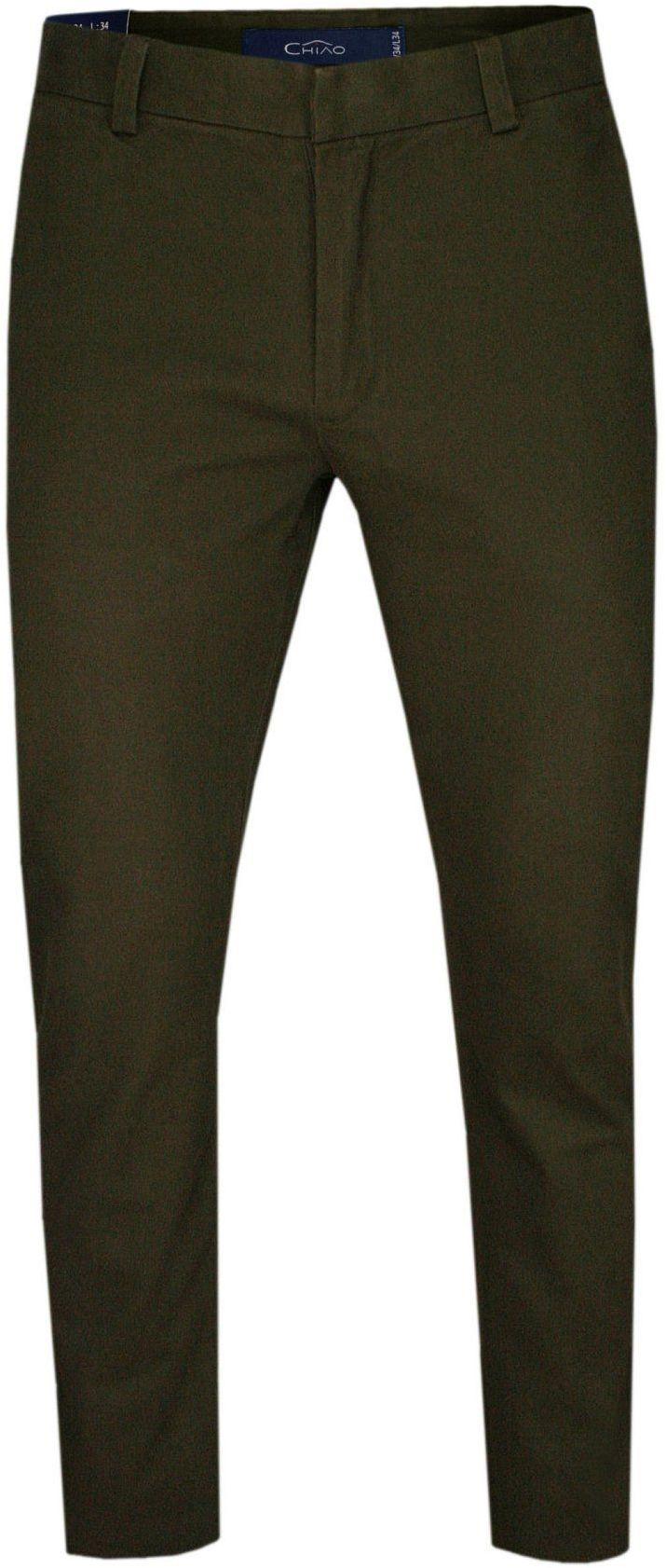 Zielone Bawełniane Spodnie Męskie, CHINOSY -CHIAO- Casualowe, Stylowe, Oliwkowe SPCHIAOM3B03braz