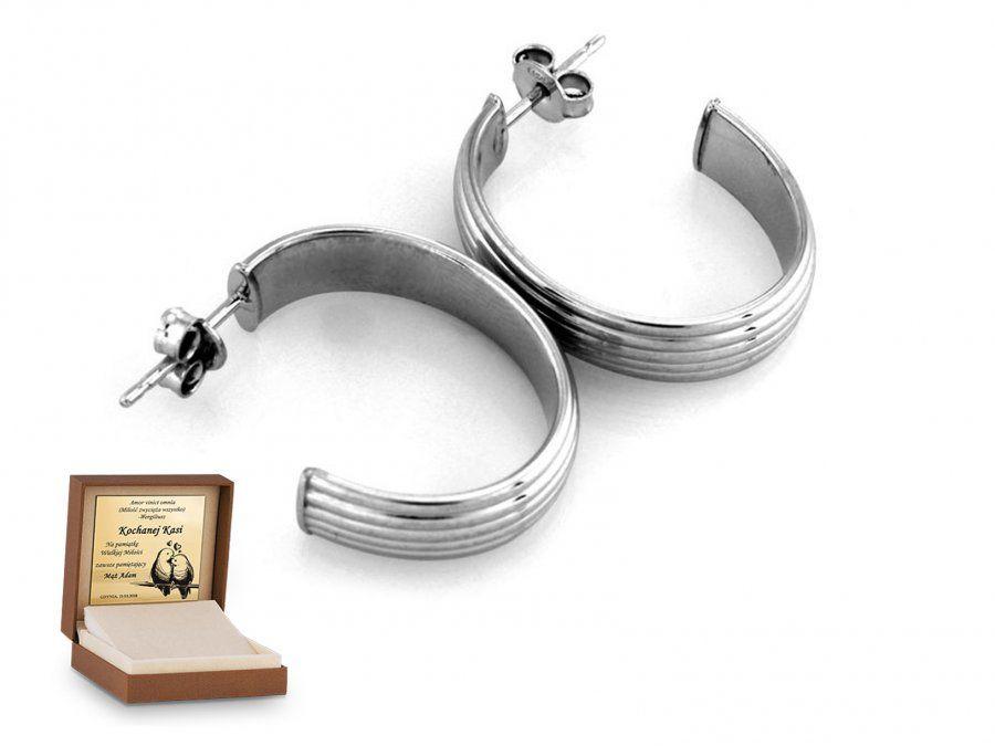 Srebrne kolczyki 925 koła kółko prezent grawer