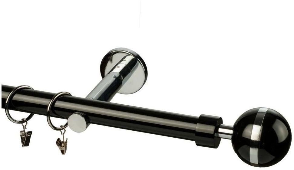 Karnisz MAGIC VIVALDI 240 cm pojedynczy czarny 25 mm metalowy