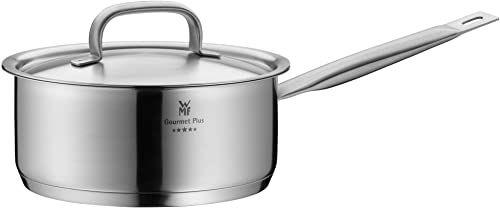 WMF Gourmet Plus rondel 20 cm, metalowa pokrywka z otworem na parę, garnek do gotowania 2,5 l, garnek na mleko, stal nierdzewna Cromargan, indukcja garnka, skala wewnętrzna