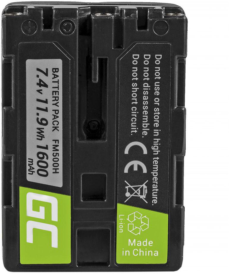 Akumulator Bateria Green Cell  NP-FM500H do Sony Alpha Series 100 200 300 500 700 800 900 SLT-A55 SLT-A57 SLT-A58 7.4V 1600mAh