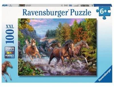 Puzzle Ravensburger 100 - Galop koni rzeką, Rushing River Horses