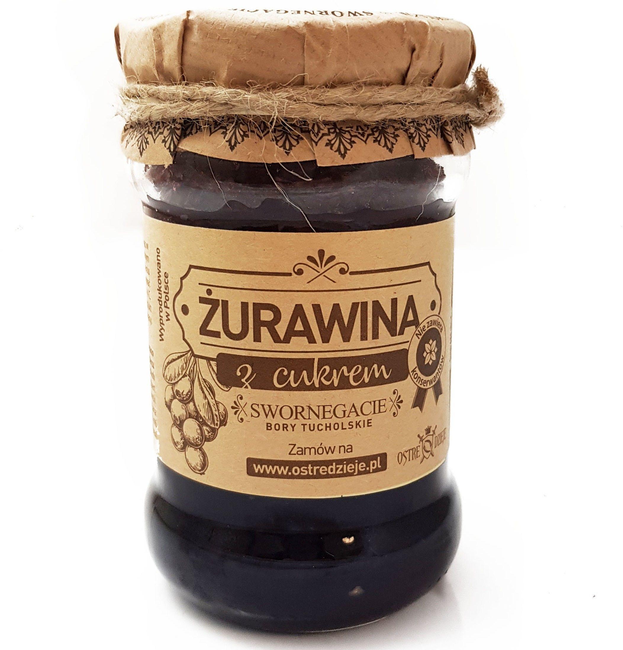 Żurawina błotna miksowana z cukrem. Bez konserwantów z Borów Tucholskich. Tradycyjna receptura.