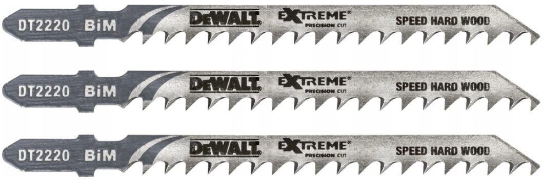 brzeszczoty do wyrzynarek 100mm do szybkiego cięcia twardego drewna 3 szt. DeWalt [DT2220]