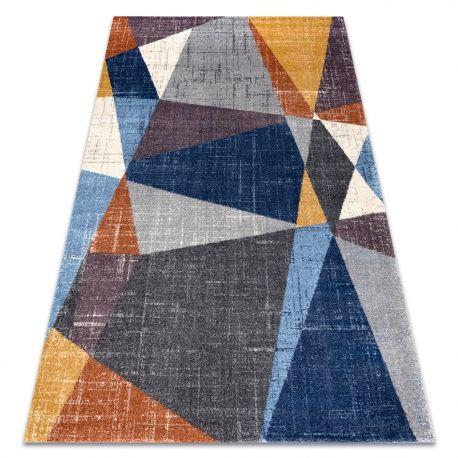 Dywan SOFT 6162 GEOMETRYCZNY, TRÓJKĄTY szary / niebieski / miedziany 80x150 cm