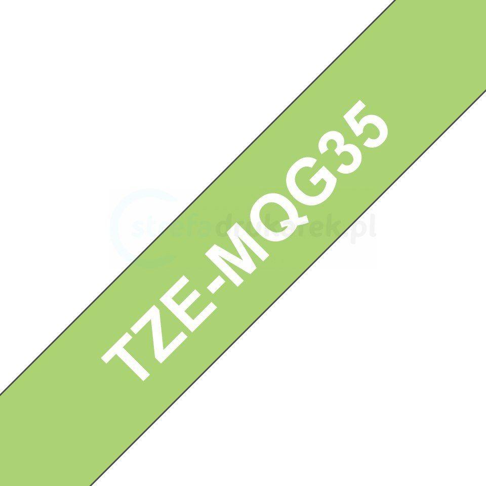 Oryginalna taśma Brother TZe-MQG35 12mm x 5m zielona/biały nadruk
