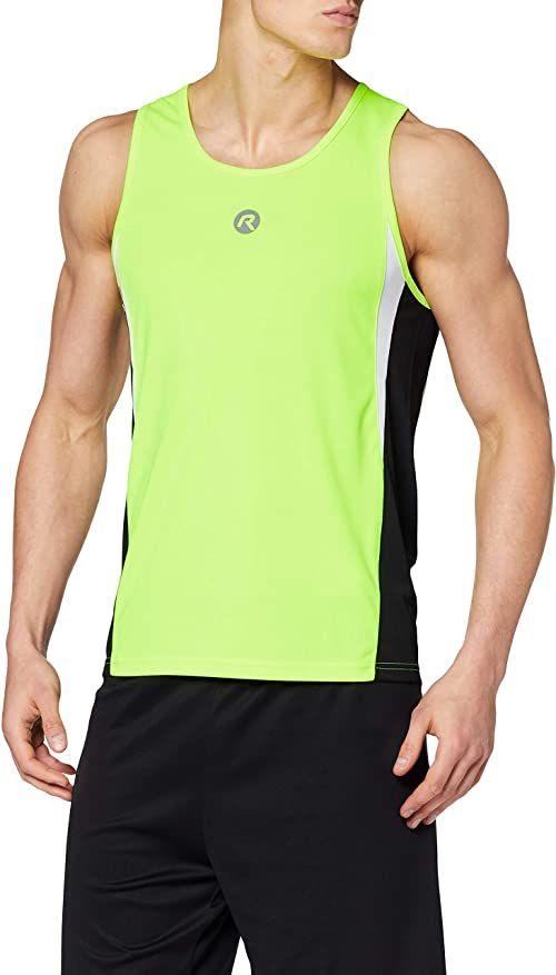 Rogelli męska koszulka do biegania bez rękawów Darby, wielokolorowa (Fluor-Yellow/Black/White), XXXXL