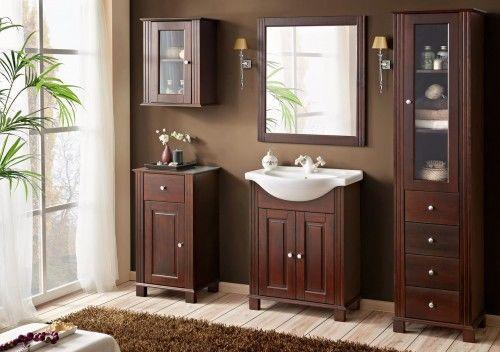 Meble łazienkowe RETRO-szafki, lustro, umywalka 65 cm