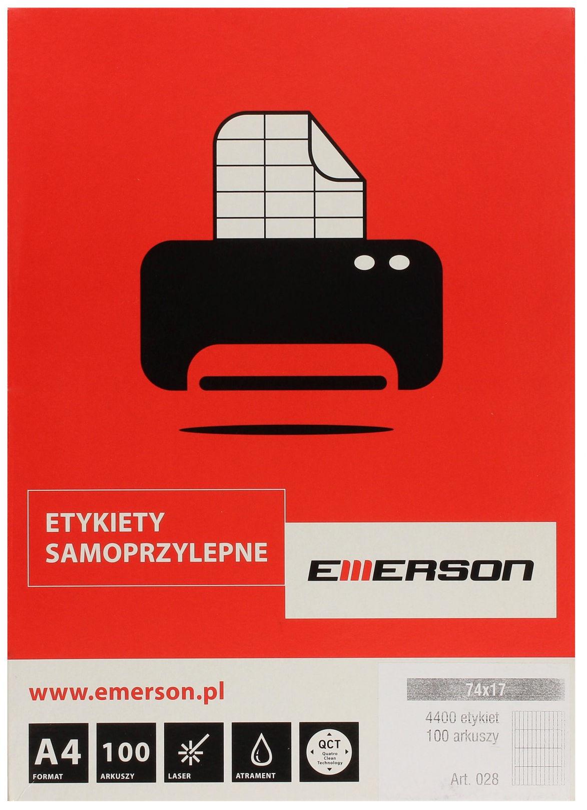 Etykiety uniwersalne 74x17/44 białe Emerson (100)