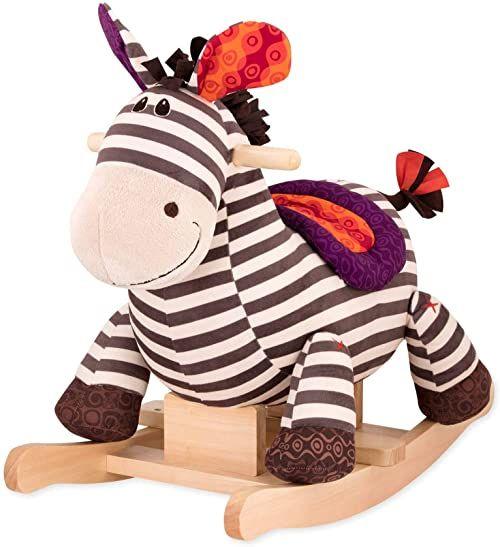B. toys by Battat Koń na biegunach Rodeo Rocker Zebra  pluszowy zebra bez BPA i drewno do siedzenia dla dzieci i niemowląt od 18 miesięcy