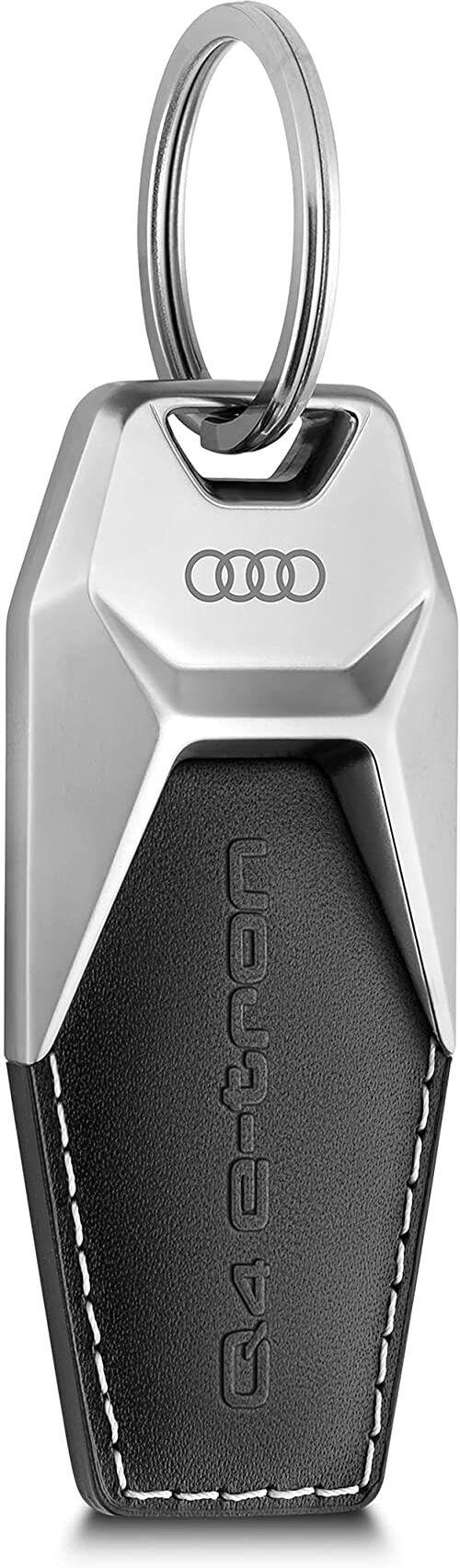 Audi 3182100301 breloczek do kluczy Q4 e-tron metal skóra zawieszka Keyring grawerunek, czarny/srebrny