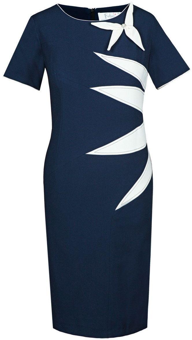 Sukienka FSU258 GRANATOWY EKRI