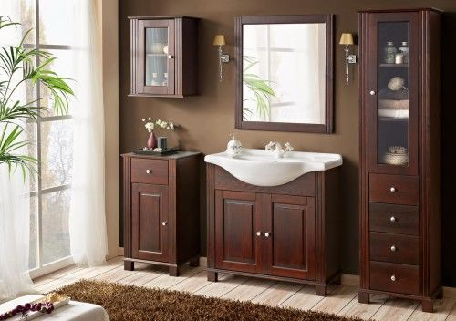 Meble łazienkowe RETRO-szafki, lustro, umywalka 85 cm