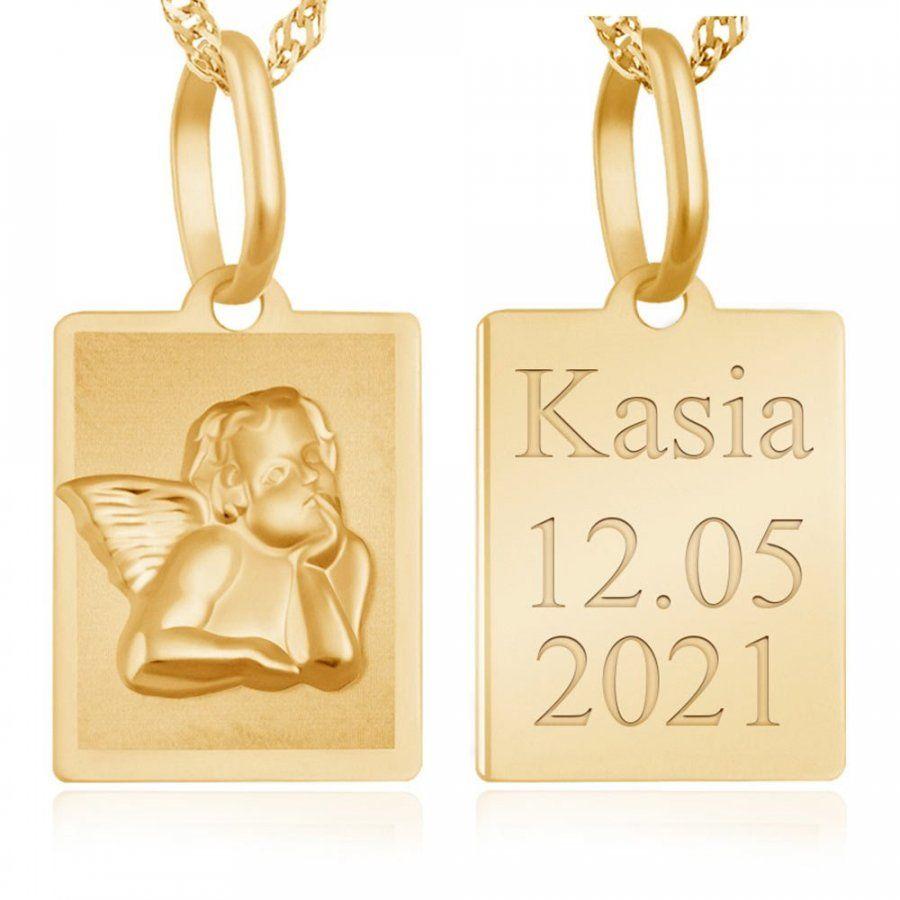 Złoty Medalik 333 Aniołek z Łańcuszkiem Grawer